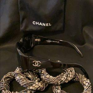 CHANEL Rhinestone Bling Sunglasses RARE 5064-B